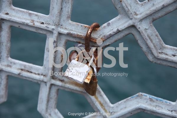 Bridge With Rusty Padlocks