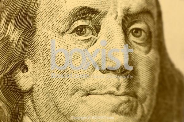 Closeup of Benjamin Franklin Face