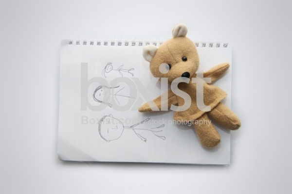 Family Hand Drawing with Teddy Bear