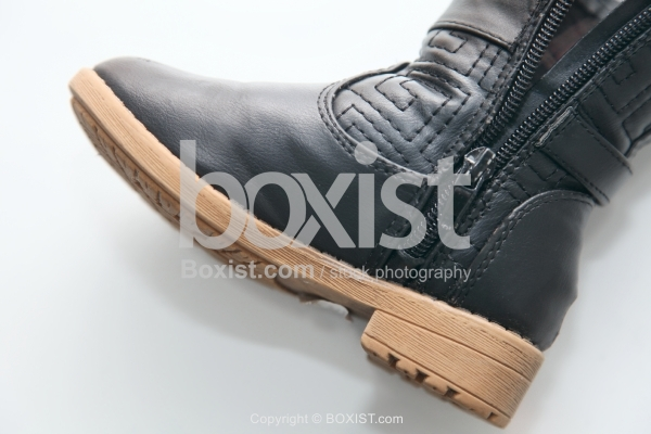 Kids Black Leather Boot