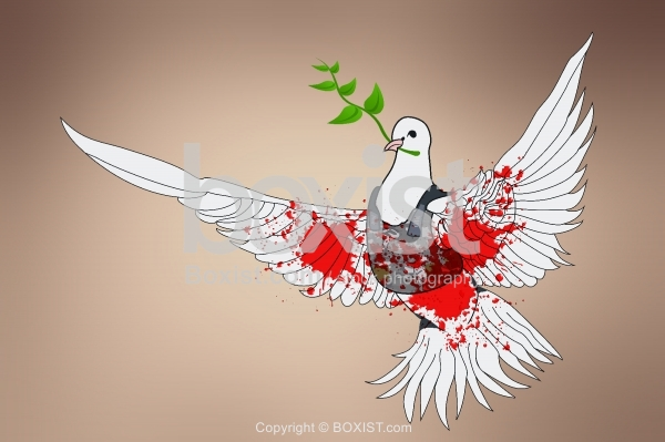 Peace Dove with Blood Splashes