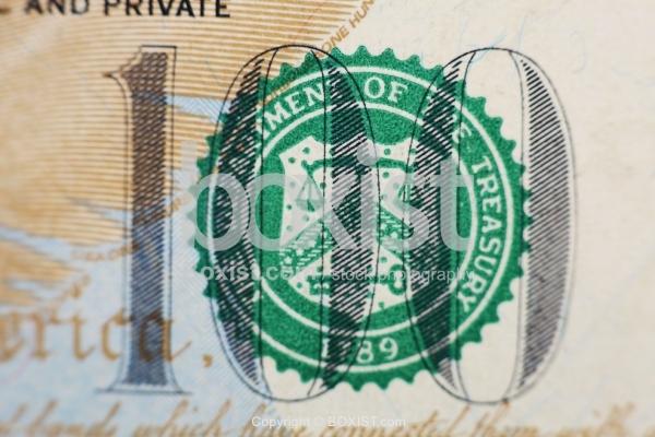 Treasury Seal on Hundred Dollar Bill