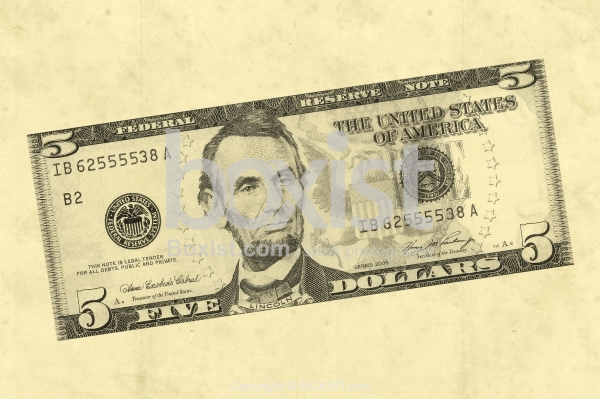 Drawing of Five Dollars Money on Paper