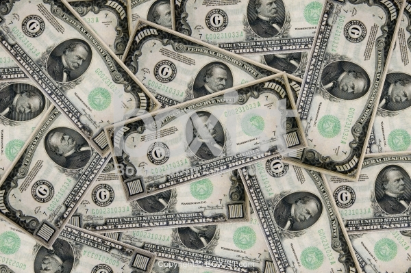 Pile of One Thousand Dollars Money Background