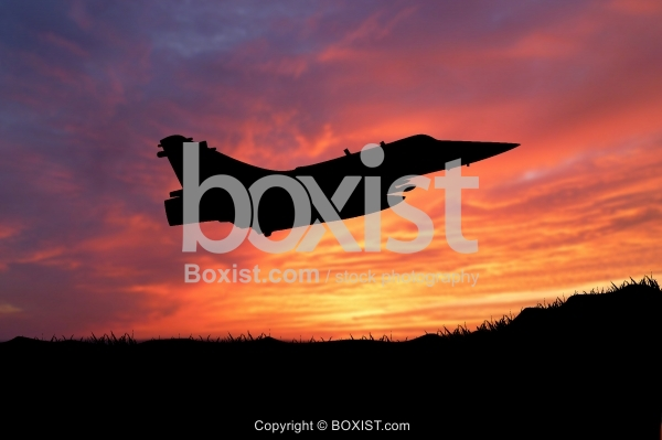 Fighter Jet Silhouette At Sunset