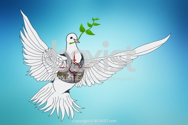 Peace Dove Flying with Branch