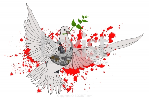 Peace Dove with Blood and Bullet Proof Vest
