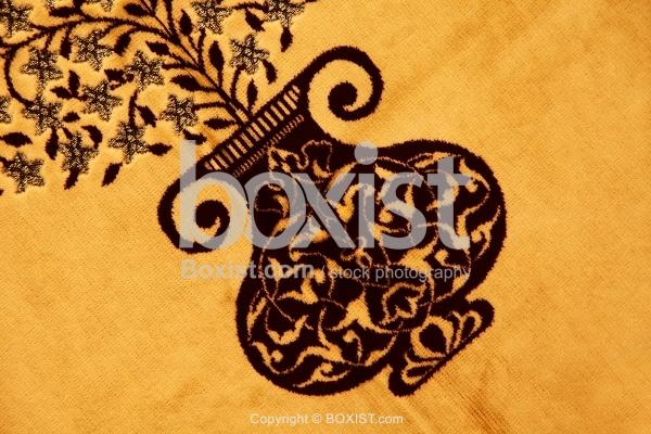 Ornamental Vase Sewn On Cloth