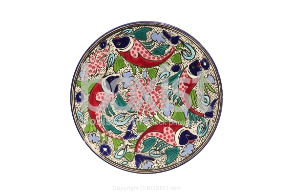 Ceramic Glazed Plate With Fish Painting