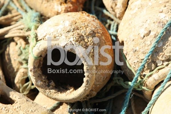 Fishermen Barnacle Encrusted Clay Jar