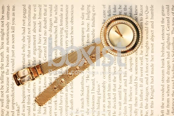 Gold Watch On Book Page
