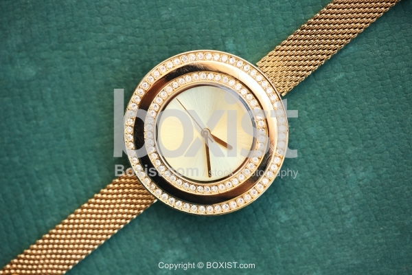 Gold Watch With Crystal Stones