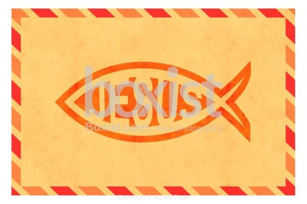 Jesus Fish Design On Old Vintage Letter