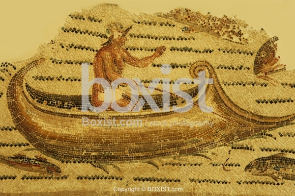 Mosaic Fragment of Fisherman with Boat from the 3rd Century