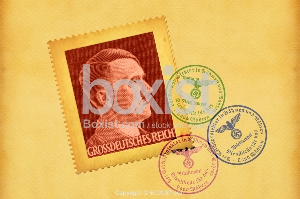 Paper with Hitler Greater German Reich Post Stamp