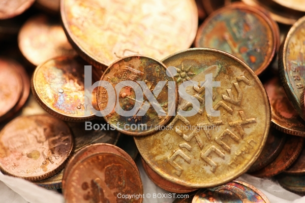 Pile Of Oxidized Copper Coins