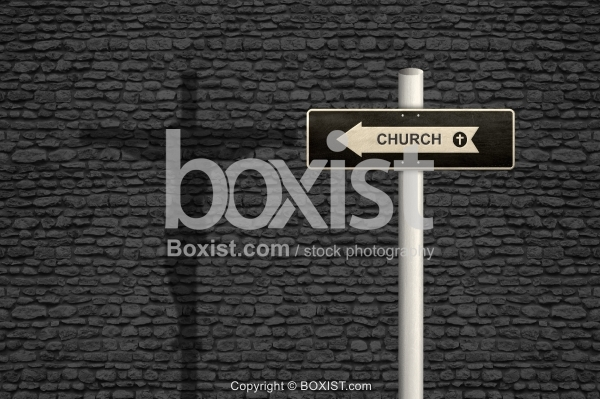 Church Sign With Cross Shadow