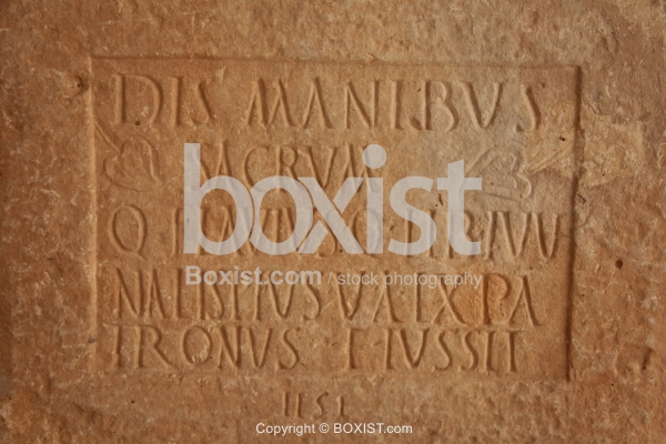 Roman Inscription on Marble Relief Fragment Funerary Stone