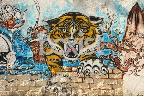 Threatening Tiger Graffiti On Wall