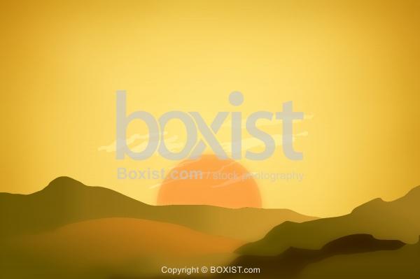 Desert Mountains Sunset Clipart