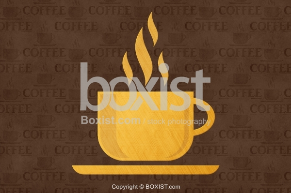 Coffee Cup Logo Design On Grunge Background