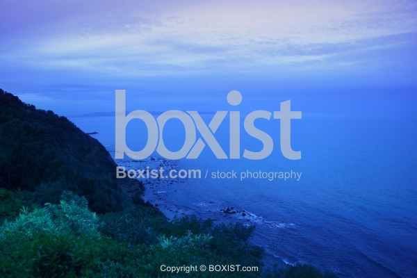 Cliff With Ocean View After Sunset
