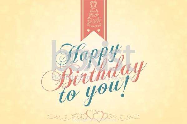 Vintage Design of Happy Birthday Card