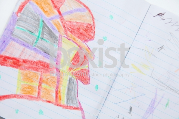 Kid Colored Drawings In Notebook