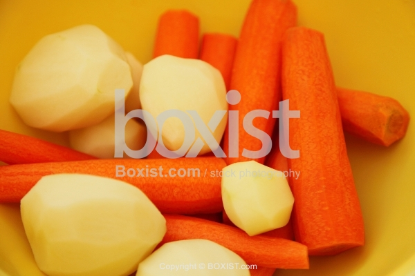 Peeled Potatoes And Carrots