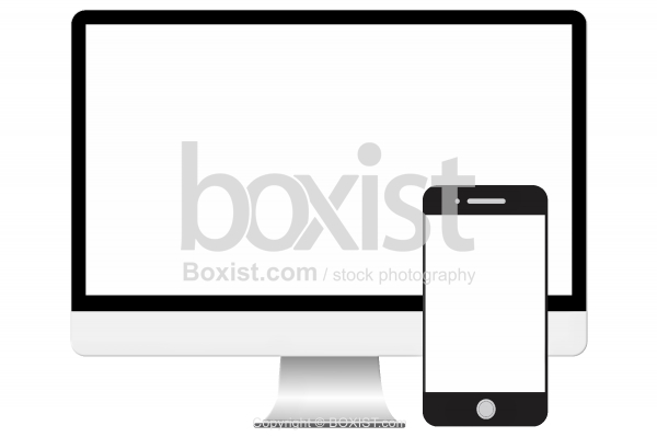 Blank Computer Monitor Screen And Mobile Phone