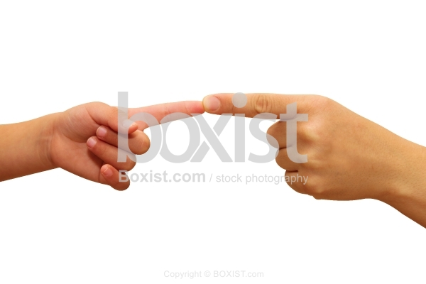 Child And Mother Two Hands Pointing