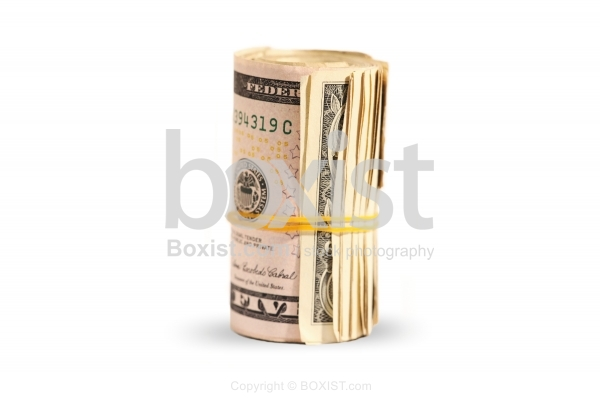 Five Dollars Money Roll With Rubber Band