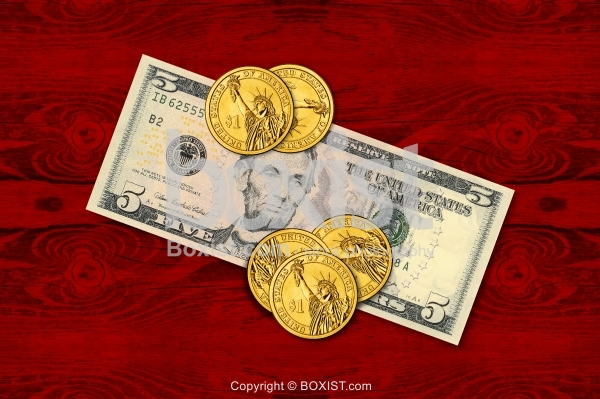 Five Dollars Note With One Dollar Coins