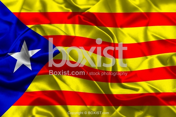 Flag Of Catalonia Independence On Silk Background