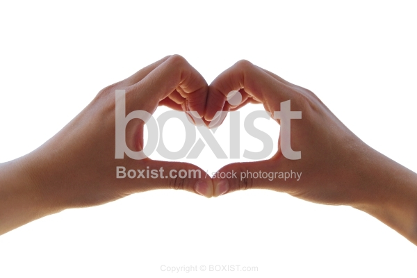 Hand Making Heart Sign Isolated on White Background