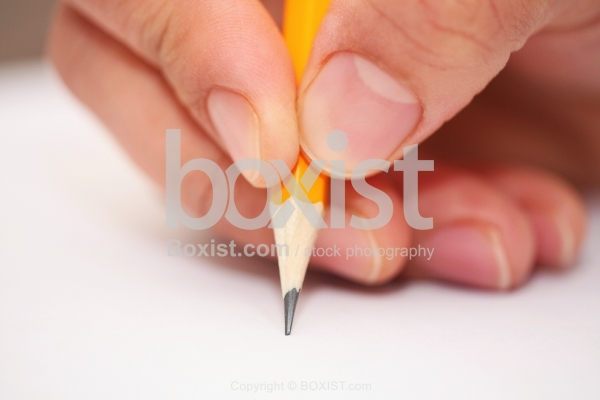 Hand Writing With Focus On Tip Of Pencil