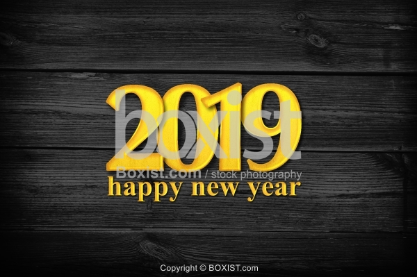 Happy New Year 2019 with Golden Letters