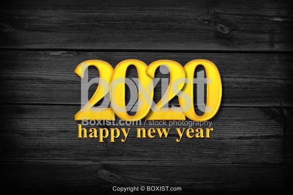 Happy New Year 2020 with Golden Letters