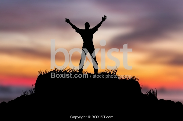 Man With Open Arms Silhouette