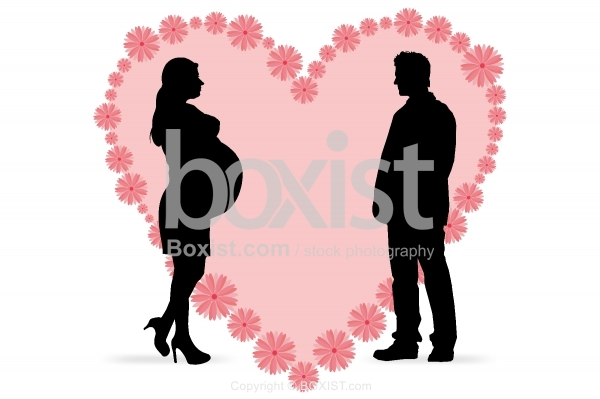 Pregnant Woman With Husband Clipart