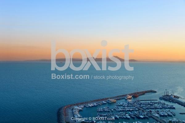 Sidi Bou Said Harbor At Sunset