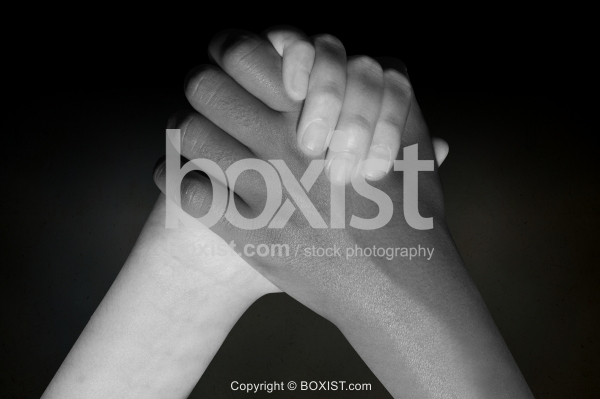 Two Hands Together In Black And White