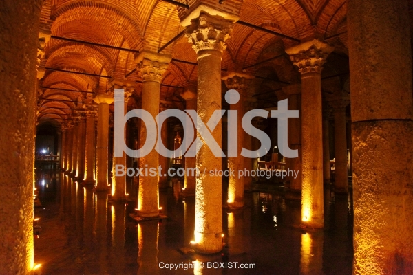 Columns of the Basilica Cistern At Sultanahmet in Istanbul