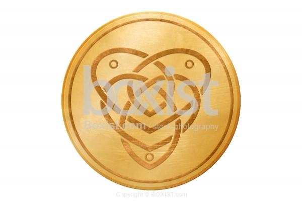 Gold Celtic Heart Knot Medal