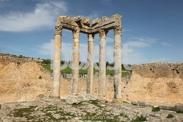 Ancient Roman Columns Of Caelestis Temple In Dougga
