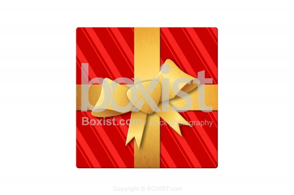 Wrapped Gift Box With Golden Ribbon