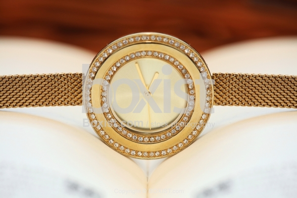 Close Up Of Golden Analog Watch