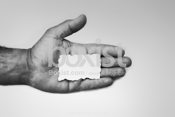 Hand Palm With White Paper Note