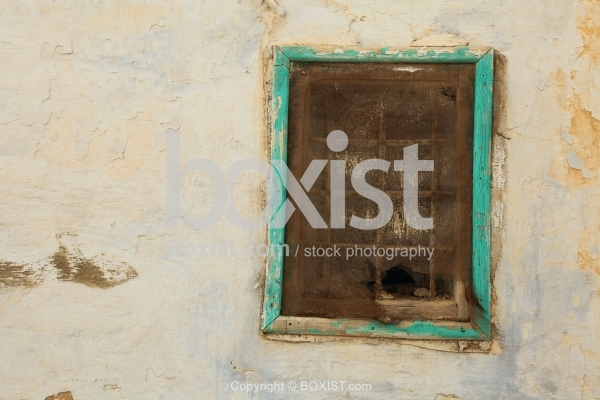 Old Window On Peeled Off Wall