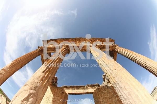 Eight Metres Tall Corinthian Columns of The Capitol at Dougga